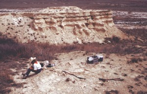 Fossil collecting in western Kansas. A partial mosasaur skeleton is visable in the middle foreground.