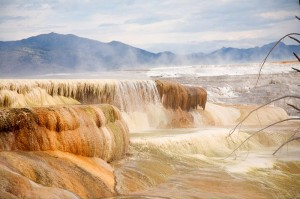 Mammoth Hot Springs at Yellowstone National Park where travertine is deposited from the geothermal waters