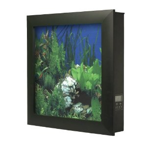 View of a wall-mounted aquarium showing the frame around the front, the background image giving it a detailed look, and the control panel on the side.