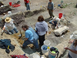 Volunteers excavate dinosaur fossils from the Woody site