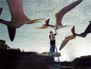 Greg dusts the life-sized models of Pteranodon sternbergii in the Sternberg Museum of Natural History