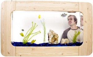 A wall aquarium, showing it being mounted directly in the wall.