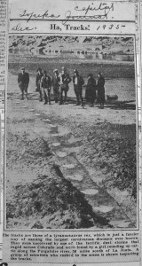Newspaper clipping announcing the discovery of the Purgatoire track site